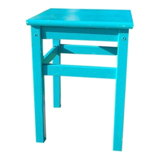 1990s Vintage Turquoise Small Wood End Table For Sale