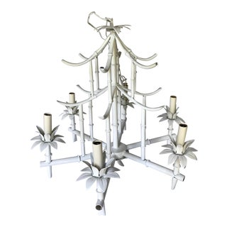1960s Chinese 6-Lite White Bamboo Chandelier
