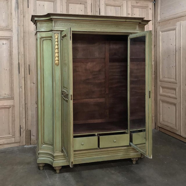 Antique Italian Neoclassical Painted Armoire For Sale - Image 4 of 13