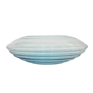 1970s Vintage Giampaolo Ghisetti Round Aquamarine Blue Murano Glass Ribbed Bowl For Sale