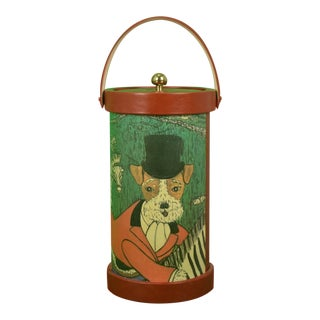 1970s Vintage Terrier Fox Hunter on Zebra Ice Bucket/ Cooler For Sale