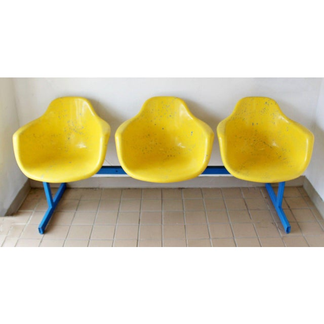 For your consideration is a fabulous, three sculptural seat, tandem bench, blue and yellow splatter painted, by Krueger...