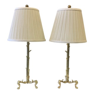 Vintage Hollywood Regency Brass Truck Form Footed Lamps - a Pair For Sale