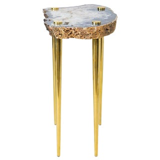 Power of 10' Side Table in Quartz and Solid Brass by Christopher Kreiling