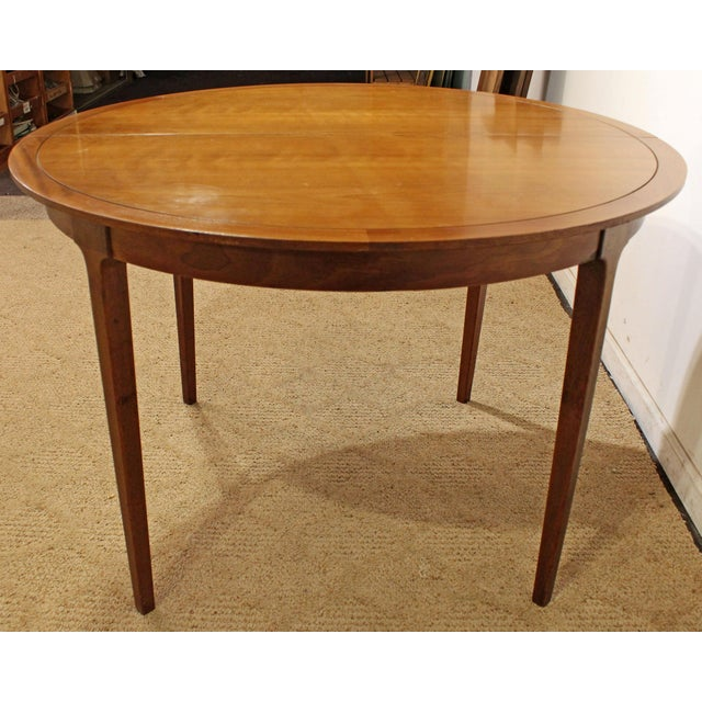 Danish Modern Mid-Century Modern Drexel Counterpoint Round Extension Walnut Dining Table #14 For Sale - Image 3 of 13