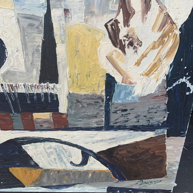 """Abstract 1940s French Abstract Painting Titled """"Notre Dame Paris"""" For Sale - Image 3 of 6"""
