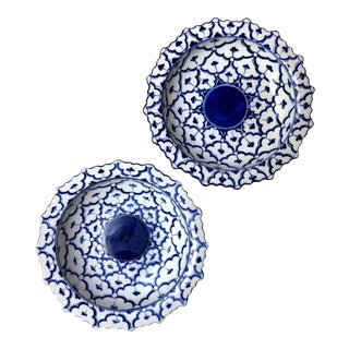 Blue & White Scalloped Porcelain Bowls - a Pair