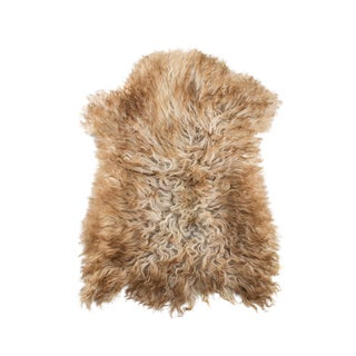 "Handmade Wool Sheepskin Pelt Rug - 2'0""x2'10"" For Sale"