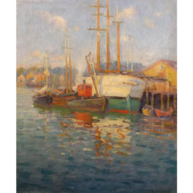 Frederick Carl Smith -Boats in the Port -Impressionist Oil painting c1930s Oil painting on Canvas -Signed - Image 3 of 10