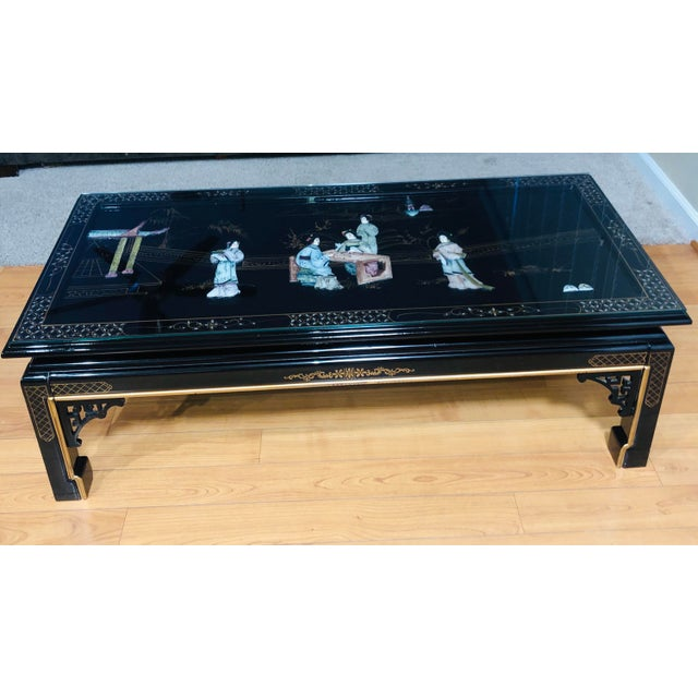 High gloss black lacquer coffee table with glass , Small crack in a aesthetic support is slightly visible (please refer to...