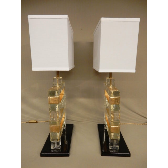 Modern Pair of Italian Murano Glass Table Lamps For Sale - Image 3 of 10
