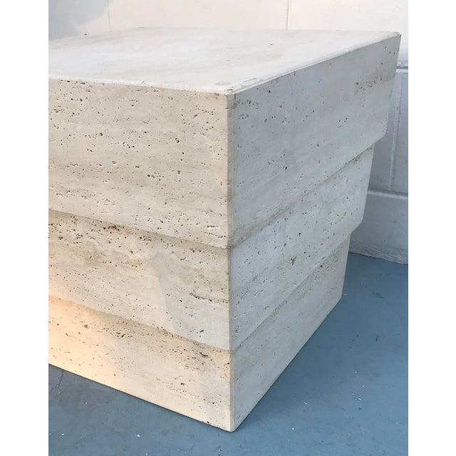 Contemporary 1970s Mid-Century Modern Stacked Travertine Occasional Table For Sale - Image 3 of 8