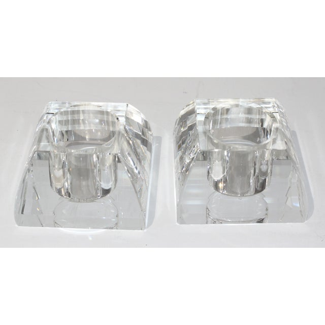 Vintage Oleg Cassini Faceted Crystal Pyramid Votive Candle Holders - a Pair -With Original Gift Boxes For Sale In West Palm - Image 6 of 10