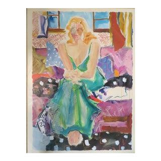 20th Century Contemporary Watercolor Woman Portrait For Sale