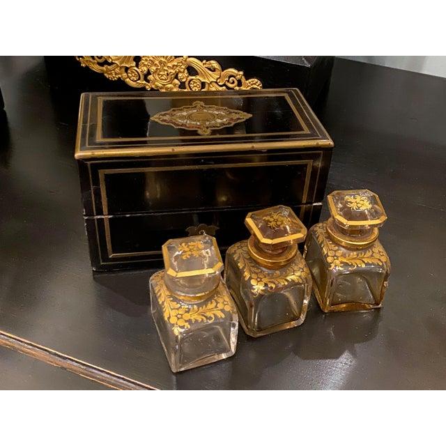 "19th Century Perfume Box With Three Gilt Painted Perfume Bottles 5.5"" Wide 3"" Deep x 5.5"" High"