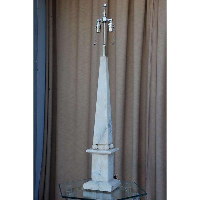 Alabaster Spectacular Alabaster Obelisk Lamp For Sale - Image 7 of 7