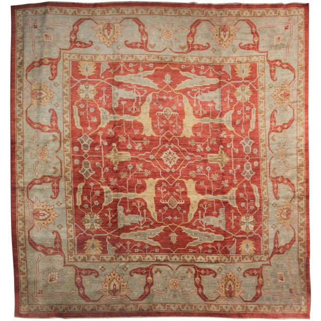 Hand Knotted Fine Oushak Rug - 12' X 12' For Sale