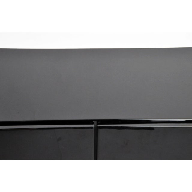 1980s Black Lacquer Console With Sliding Doors For Sale - Image 11 of 13