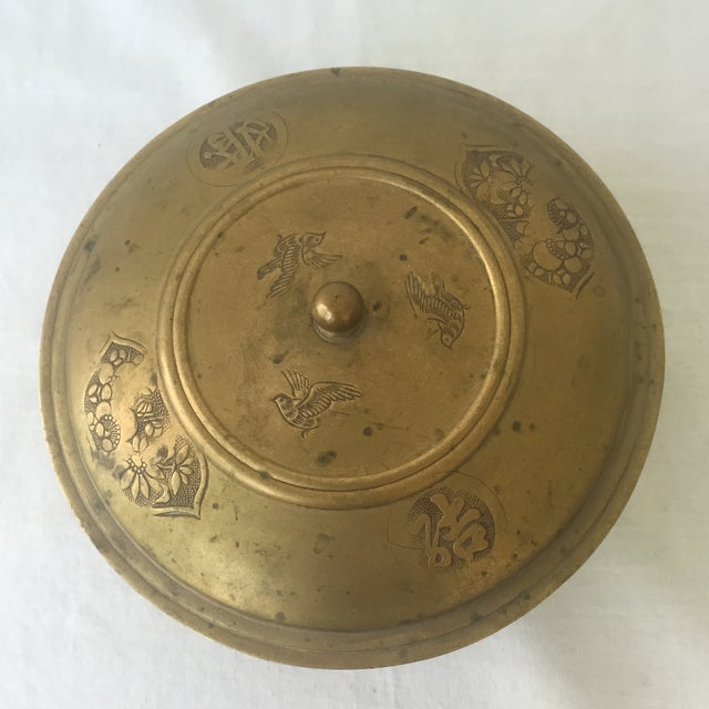 Vintage Brass Lidded Bowl For Sale - Image 5 of 6
