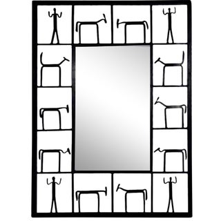 1950s Frederick Weinberg Brutalist Wrought Iron Wall Mirror Sculpture For Sale
