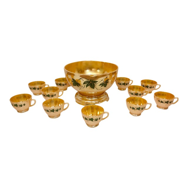 1960s Anchor Glass Peach Luster Nostalgia Punch Serving - Set of 12 For Sale