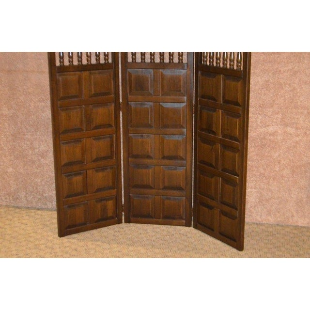 Vintage Jacobean Style Wood Room Divider For Sale - Image 12 of 13