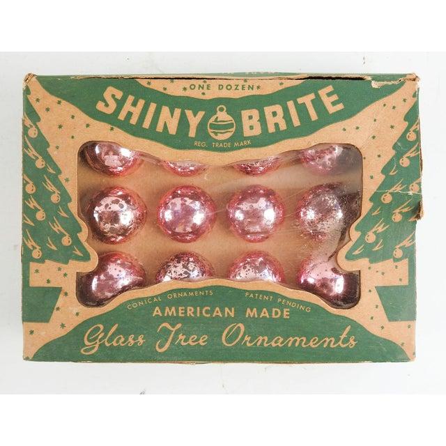 Christmas Ornament Set.Vintage Hot Pink Shiny Brite Christmas Ornaments Set Of 12