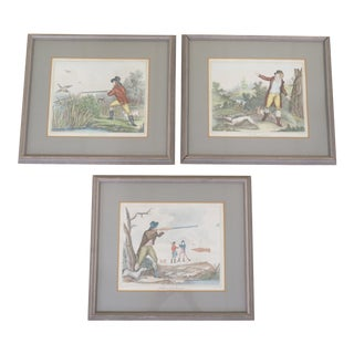 Early 20th Century Antique Framed Hand-Colored Hunting Prints - Set of 3 For Sale