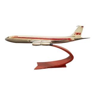Vintage Twa Metal Plane on Stand For Sale