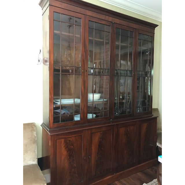 18th century English George III style bookcase and cabinet. . Has a great deal of storage and display. All original glass,...