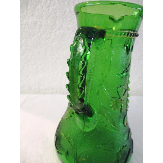 Victorian Antique Northwood Emerald Green Glass Pitcher For Sale - Image 3 of 9