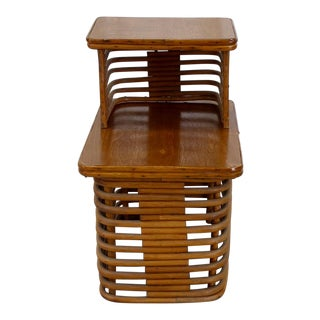 Vintage Rattan Stacked Side Tables
