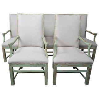 Set of Eight Painted Swedish Dining Chairs For Sale