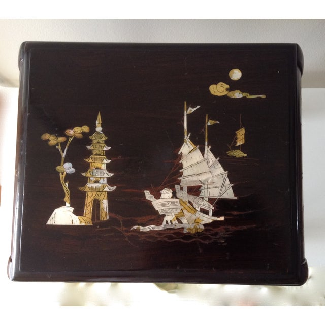 Asian Mother of Pearl & Abalone Inlay Side Table - Image 9 of 11