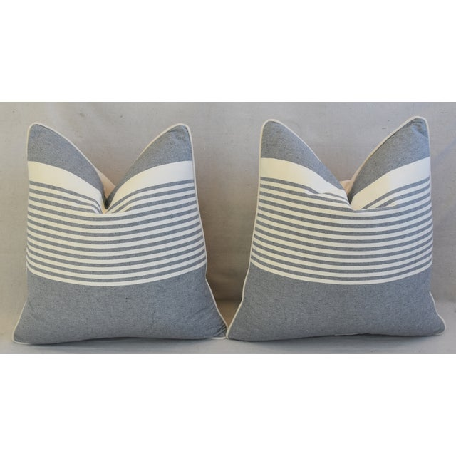 """French Gray & White Nautical Striped Feather/Down Pillows 22"""" Square - Pair For Sale In Los Angeles - Image 6 of 12"""
