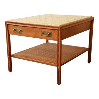 Gerry Zanck for Gregori Mid-Century Walnut & Travertine Side Table For Sale