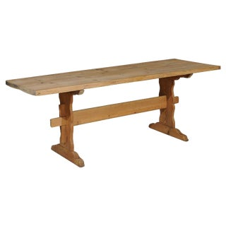 19th Century Swedish Stripped Pine Farm Table With Trestle Base For Sale