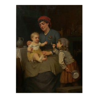 """""""Blowing Bubbles"""" Oil on Canvas by William Penn Morgan a.n.a (American, 1826-1900) For Sale"""