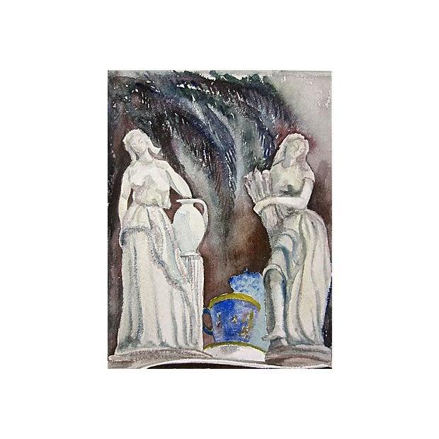 Italian Original Vintage Classical Figural Watercolor For Sale - Image 3 of 3