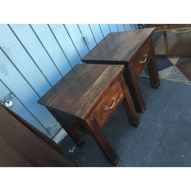 Wood Rustic Side Tables - A Pair - Image 3 of 6