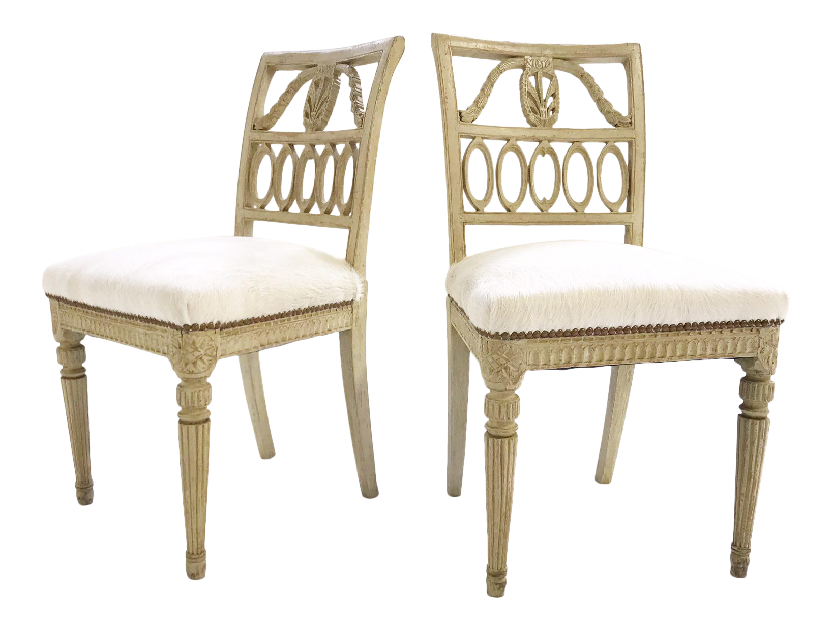 18th Century Swedish Painted Side Restored Brazilian Cowhide Chairs   A Pair