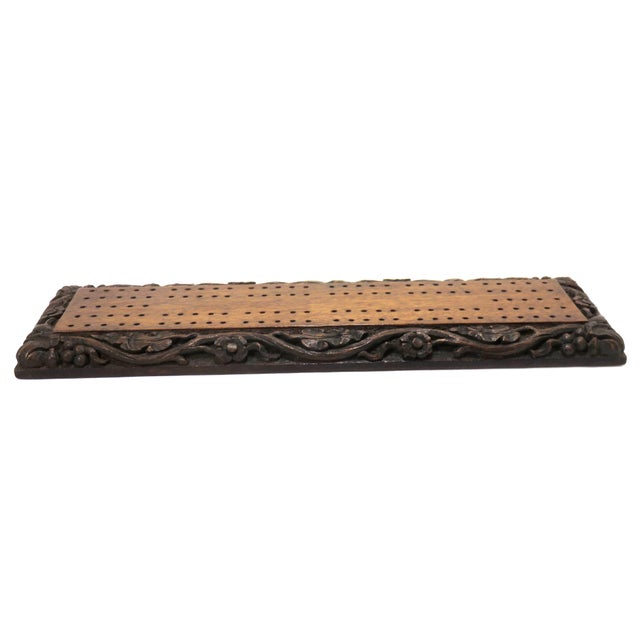 Antique Carved Mahogany Cribbage Game Board For Sale In Boston - Image 6 of 13