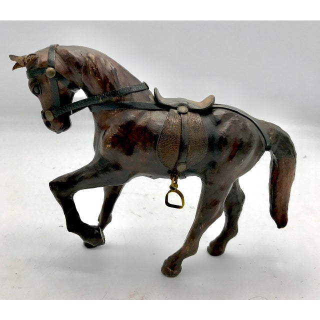 Mid-Century Modern 1950s Leather Wrapped Horse Sculpture Figurine For Sale - Image 3 of 8