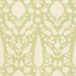 Sample - Schumacher Chenonceau Wallpaper in Sage For Sale