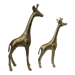 1960s Vintage Brass Giraffes - a Pair For Sale