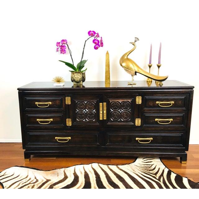 Vintage Hollywood Regency Style Dresser / Credenza Cabinet - unique blend of Mid Century Asian & Moroccan elements -...