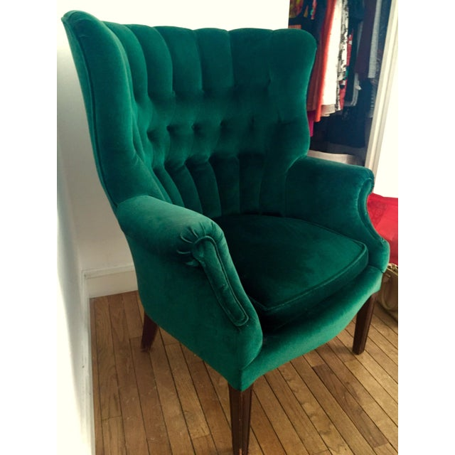 Vintage Emerald Green Armchair - Image 2 of 4