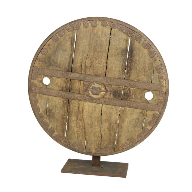 Oak And Iron Wheel, Circa 1700 On Later Iron Stand For Sale - Image 10 of 10