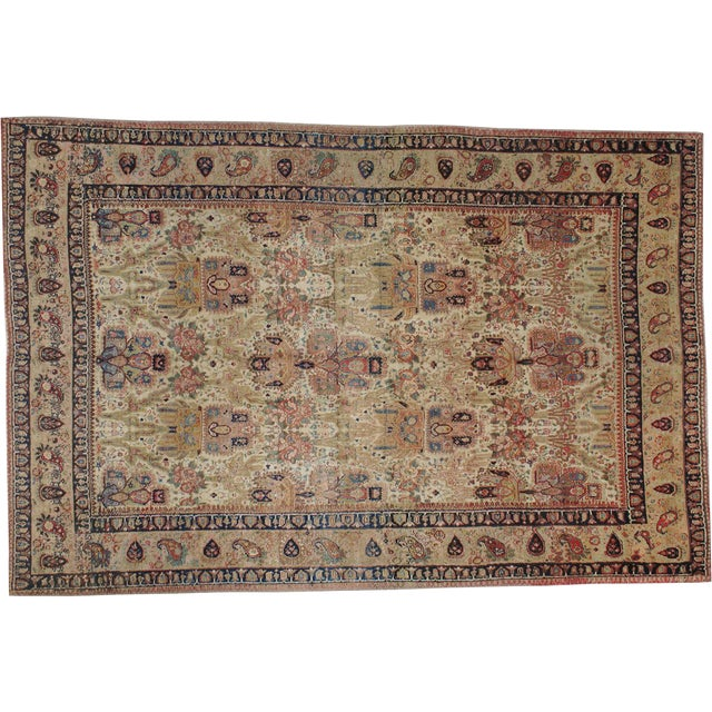 "Antique Persian Tabriz Rug - 7'3"" X 10'9"" For Sale"