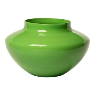 1970s Vintage Cenedese Opaline Murano Glass Green Vase For Sale